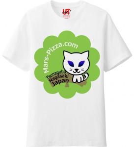 メンズ Tシャツ 火星ネコグリーン
